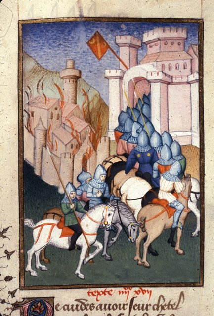 Armies entering Troy from BL Harley 4431, f. 139v