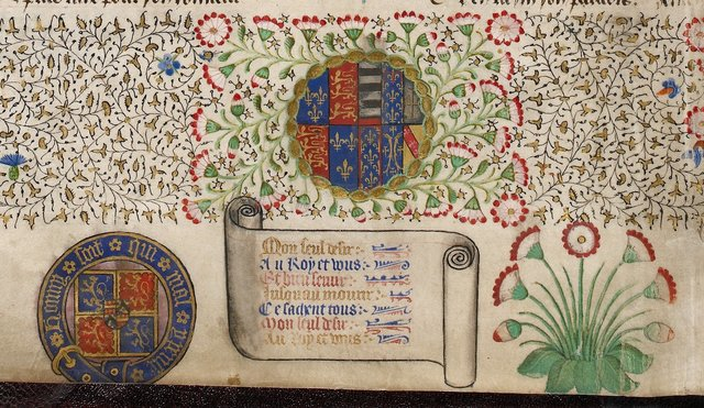 Arms of England and Anjou from BL Royal 15 E VI, f. 2v