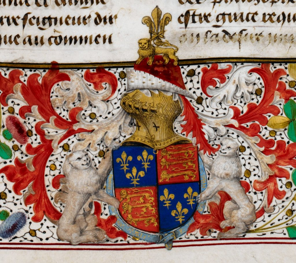 Arms of England from BL Royal 15 E IV, f. 14