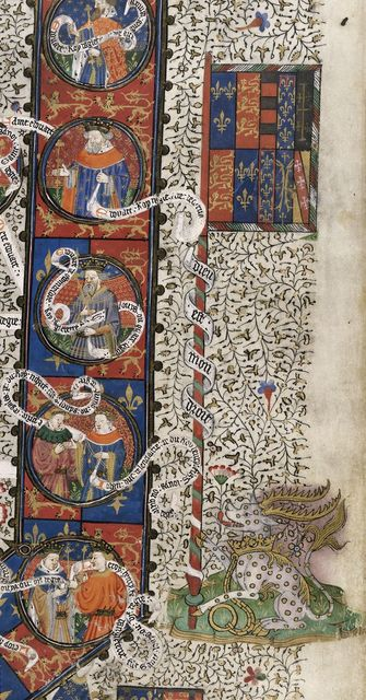 Arms of England from BL Royal 15 E VI, f. 3