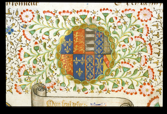 Arms of England impaled with the arms of Anjou from BL Royal 15 E VI, f. 2v