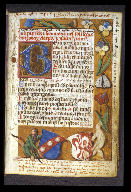 Arms of Konrad Peutinger and Margareta Welser from BL Harley 2953, f. 21