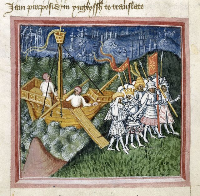 Arrival of the Danes from BL Harley 2278, f. 98v