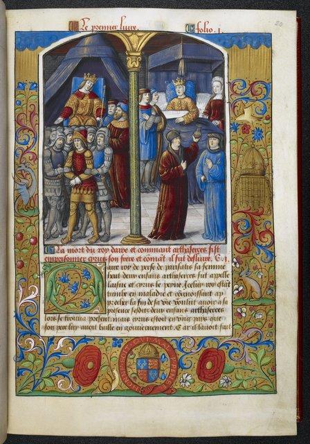 Artaxerxes enthroned from BL Royal 19 C VI, f. 20