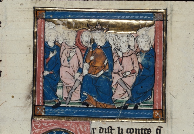 Arthur in council with his knights from BL Royal 14 E III, f. 161