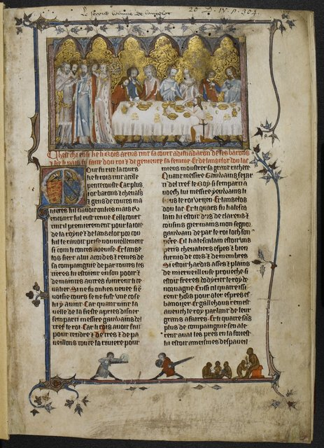 Arthur, Lancelot and Guinevere from BL Royal 20 D IV, f. 1