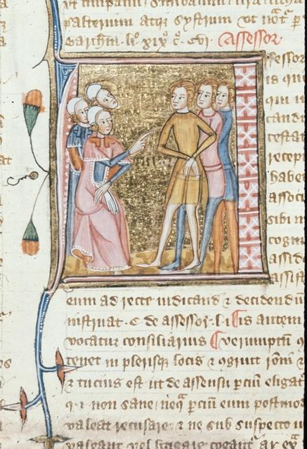 Assessor (Counselor, adviser to a judge) from BL Royal 6 E VI, f. 150v