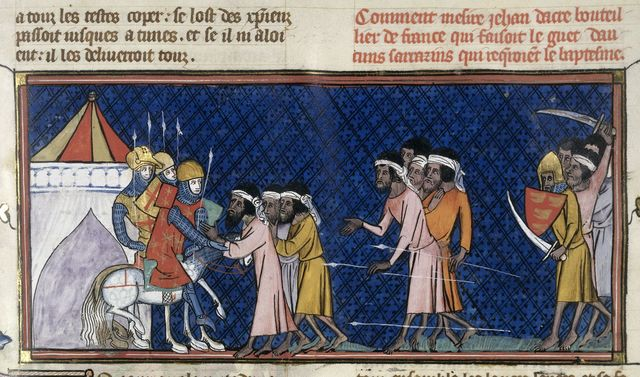 Attack by Saracens from BL Royal 16 G VI, f. 442