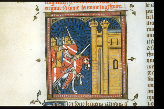 Attack on a castle from BL Royal 16 G VI, f. 371v