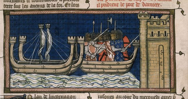 Attack on Damietta from BL Royal 16 G VI, f. 409v