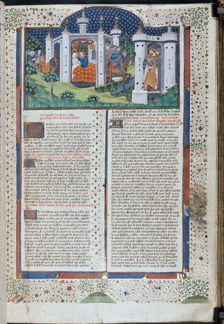 Aubert and Ide, Robert the Devil, and Charlemagne from BL Royal 15 E VI, f. 363