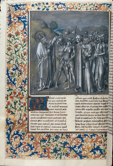Augustine and demons from BL Royal 14 D I, f. 376v