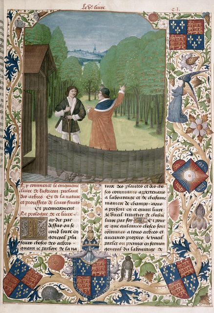 Author in an orchard from BL Royal 14 E VI, f. 110