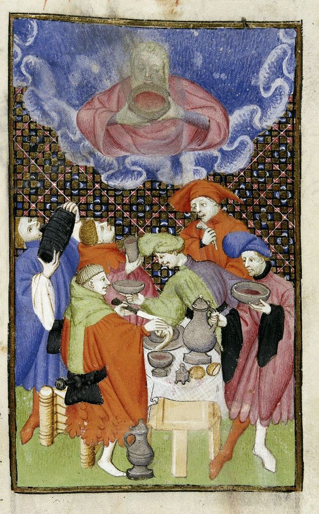 Bacchus and his followers from BL Harley 4431, f. 106