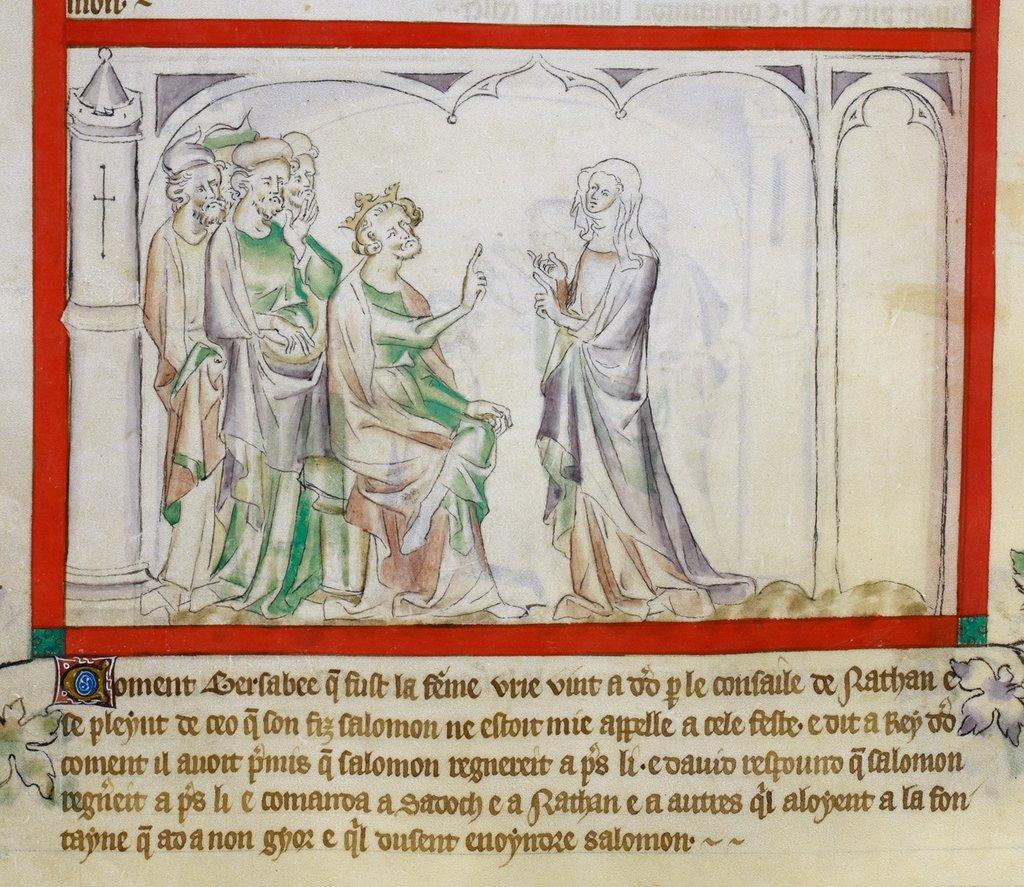 Bathsheba and David from BL Royal 2 B VII, f. 63v