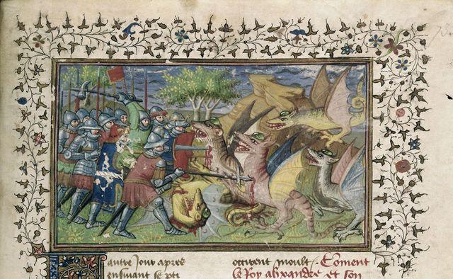 Battle against dragons from BL Royal 20 B XX, f. 73