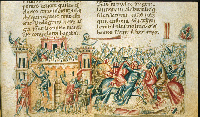 Battle and siege from BL Royal 20 D I, f. 285