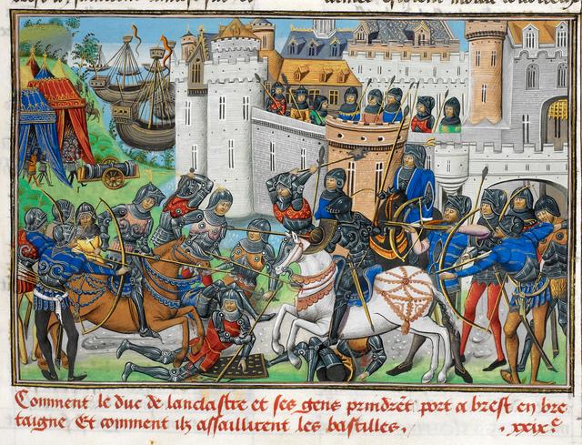 Battle at Brest from BL Royal 14 E IV, f. 224