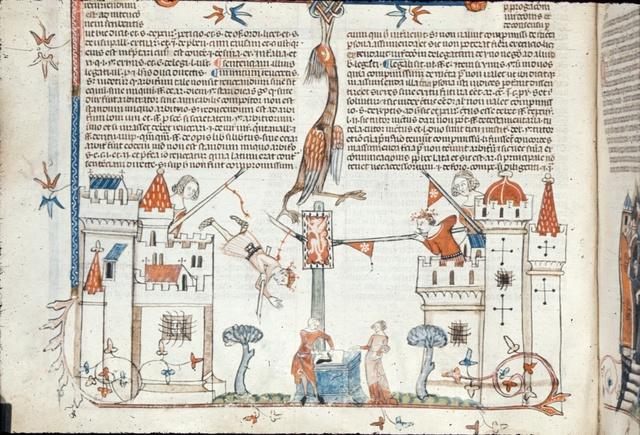 Battle between castles from BL Royal 10 E IV, f. 90v