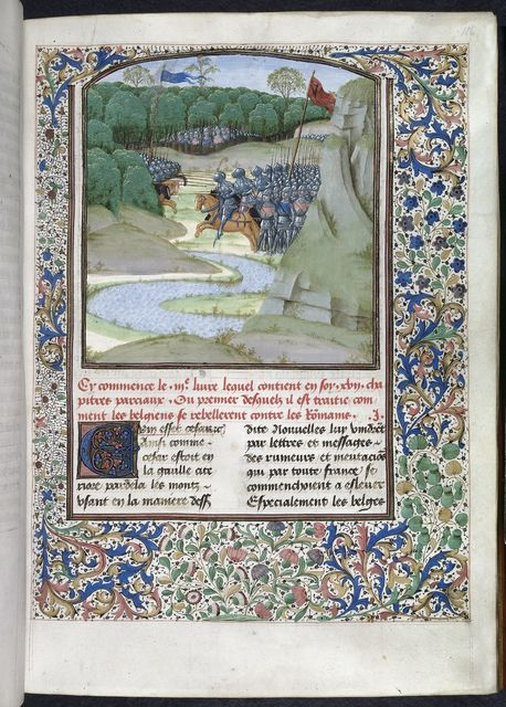 Battle between the Romans and the Gauls from BL Royal 16 G VIII, f. 116