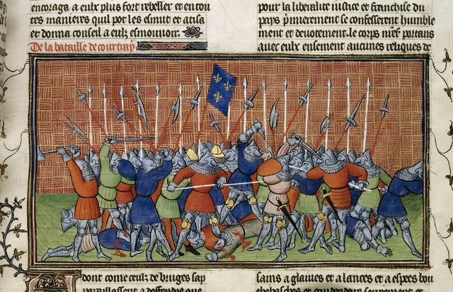 Battle of Courtrai from BL Royal 20 C VII, f. 34