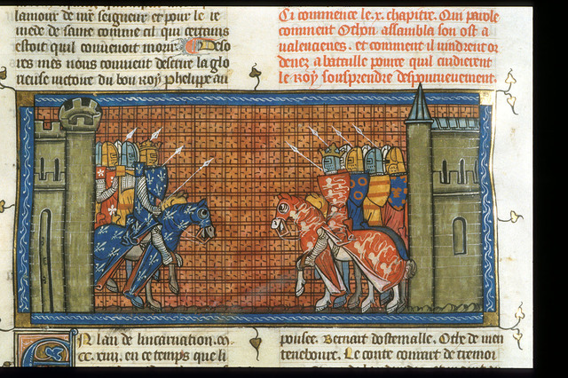 Battle of Philip Augustus and John of England from BL Royal 16 G VI, f. 376v
