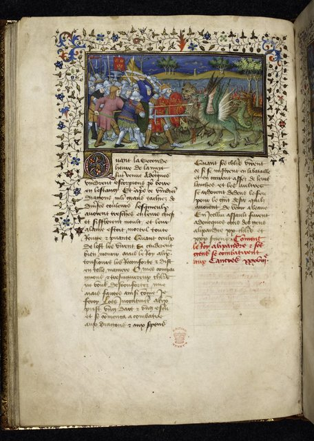 Battle with dragons from BL Royal 20 B XX, f. 49v