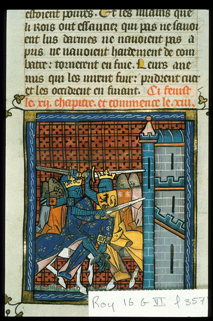 Battle with Richard I from BL Royal 16 G VI, f. 357v