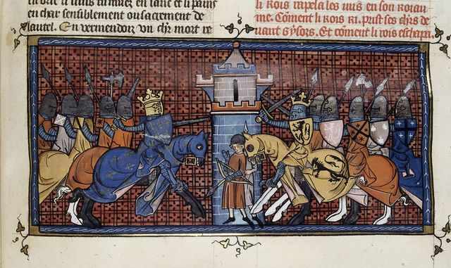 Battle with Richard I from BL Royal 16 G VI, f. 360