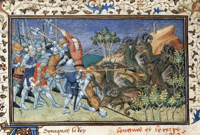 Battle with sheep-horned dragons from BL Royal 20 B XX, f. 78v