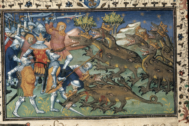 Battle with two-headed dragons from BL Royal 20 B XX, f. 83v