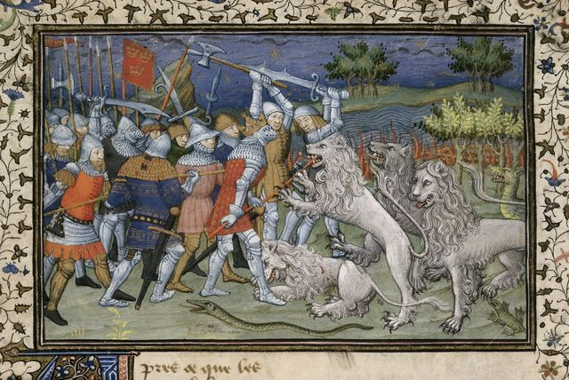 Battle with white lions from BL Royal 20 B XX, f. 50v