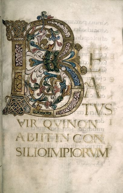 Beatus initial from BL Harley 2904, f. 4