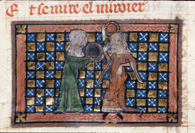 Bel-Acoeil taking the chaplet and mirror from BL Royal 20 A XVII, f. 104v