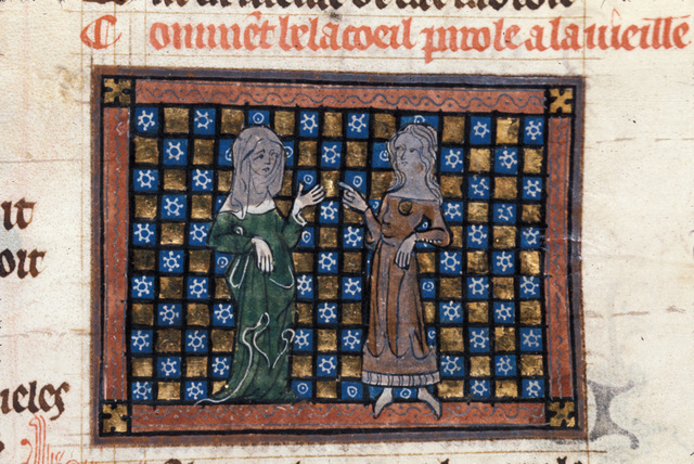 Bel-Acoeil talking to the old woman from BL Royal 20 A XVII, f. 119