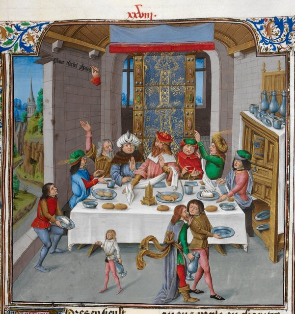 Belshazzar's feast from BL Royal 15 D I, f. 45