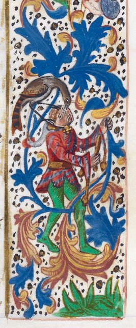 Bird and fool from BL Royal 14 E IV, f. 299