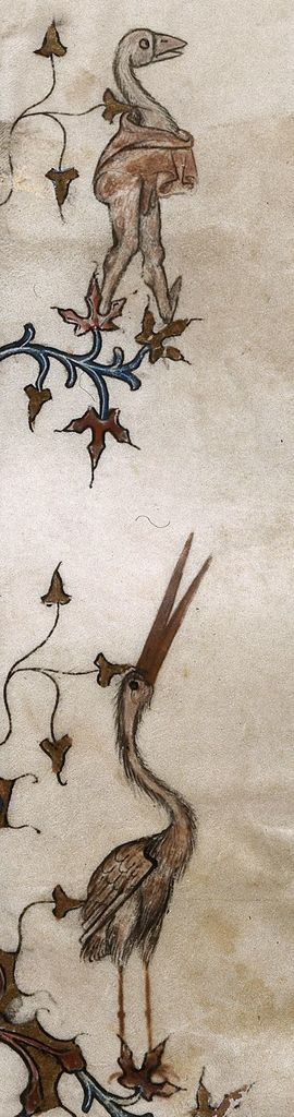 Bird and grotesque from BL Royal 16 G VII, f. 219