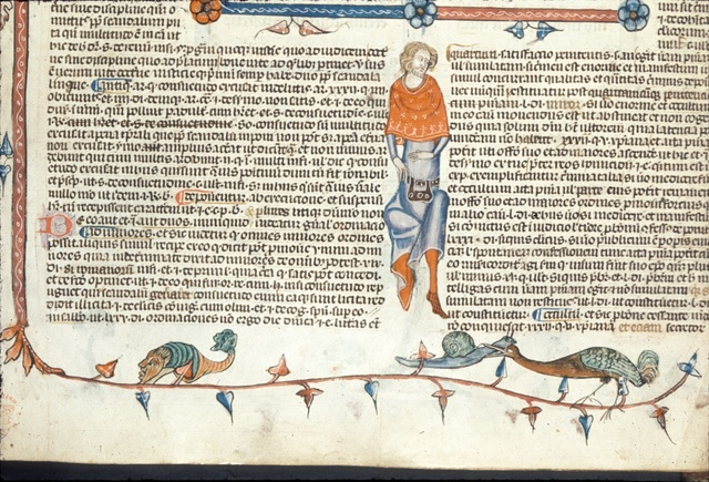 Bird eating a snail from BL Royal 10 E IV, f. 46v