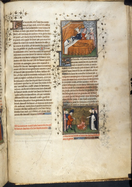 Birth of Louis, and burning of books from BL Royal 20 C VII, f. 189