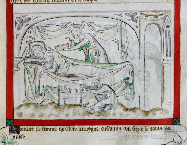 Birth of Samuel from BL Royal 2 B VII, f. 48
