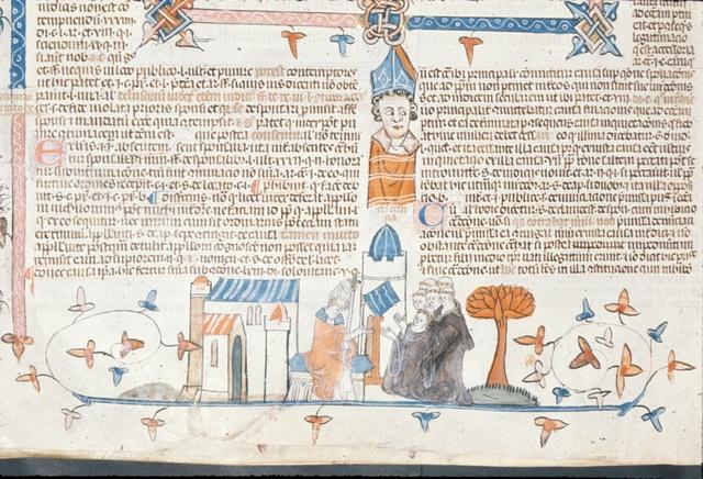 Bishop addressing monks from BL Royal 10 E IV, f. 244v