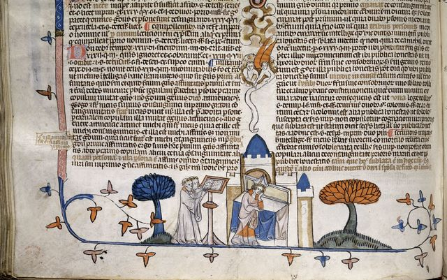 Bishop and clerks from BL Royal 10 E IV, f. 242v