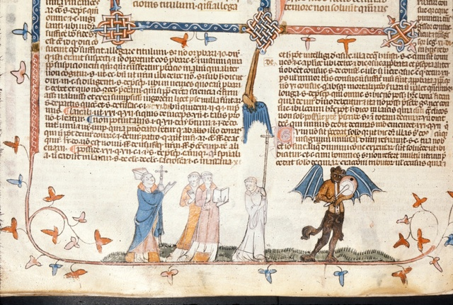 Bishop and monks in procession from BL Royal 10 E IV, f. 201v