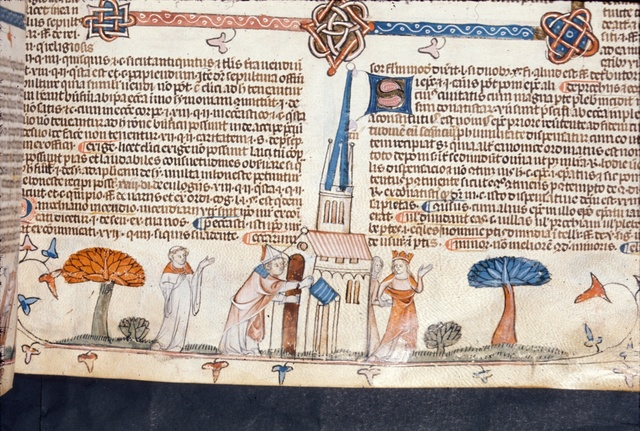 Bishop approaching a church from BL Royal 10 E IV, f. 198