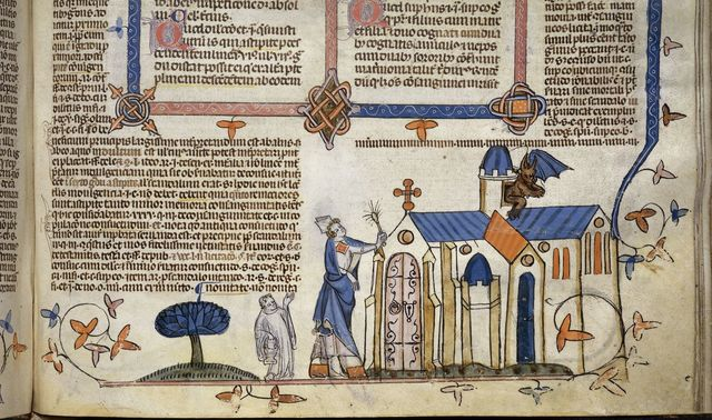 Bishop expelling a devil from BL Royal 10 E IV, f. 242