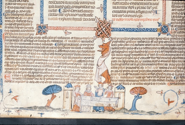 Bishop, queen and kings dining from BL Royal 10 E IV, f. 207v