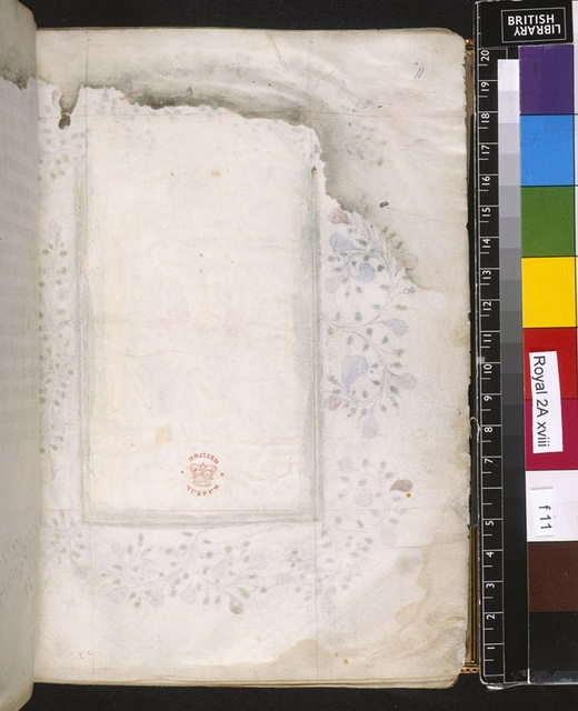 Blank leaf from BL Royal 2 A XVIII, f. 11