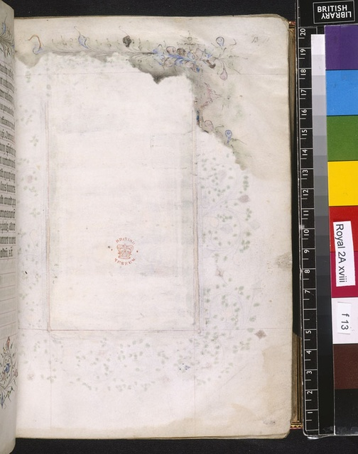 Blank page from BL Royal 2 A XVIII, f. 13