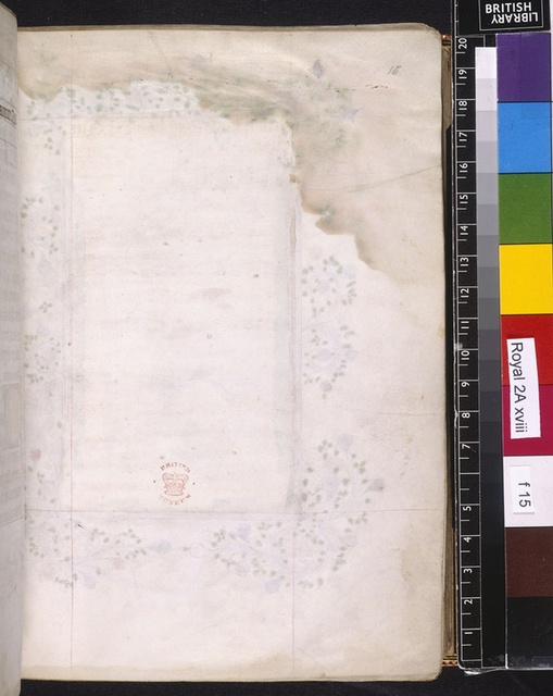 Blank page from BL Royal 2 A XVIII, f. 15